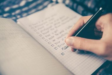 writing a list in a notebook