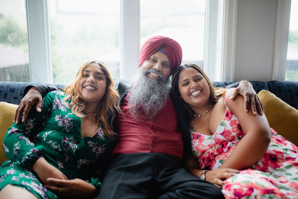 Sikh dad and his two daughters